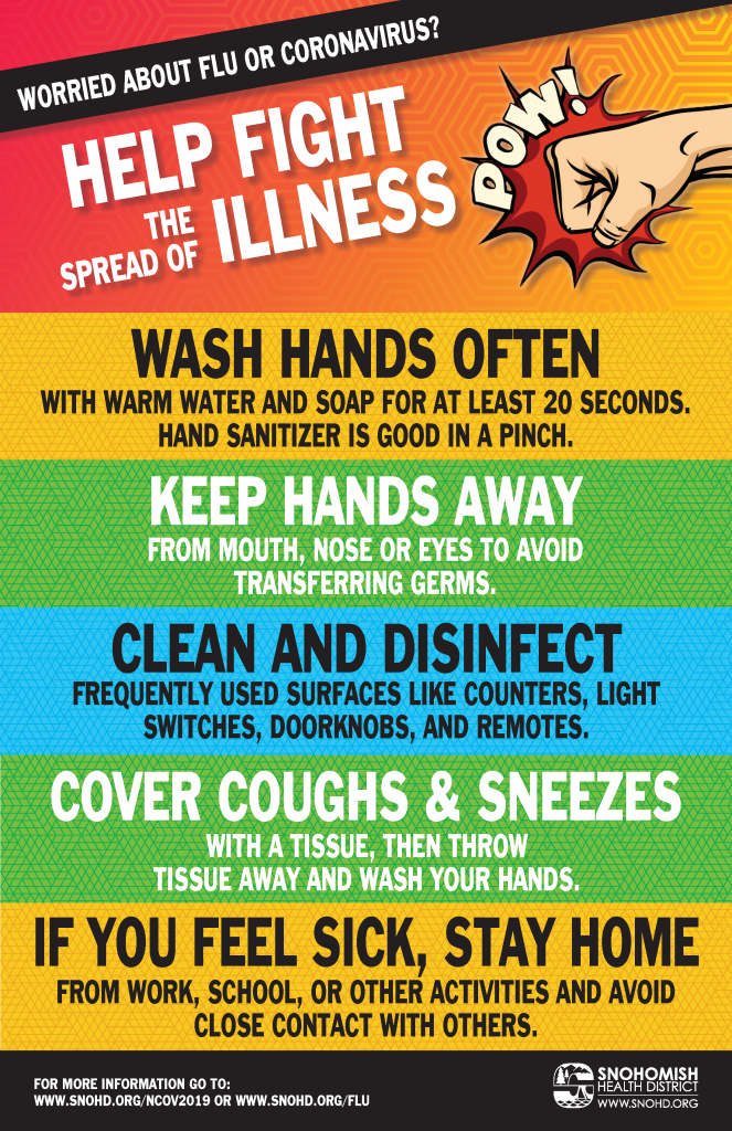 Poster from Snohomish Health District on preventing the spread of illness