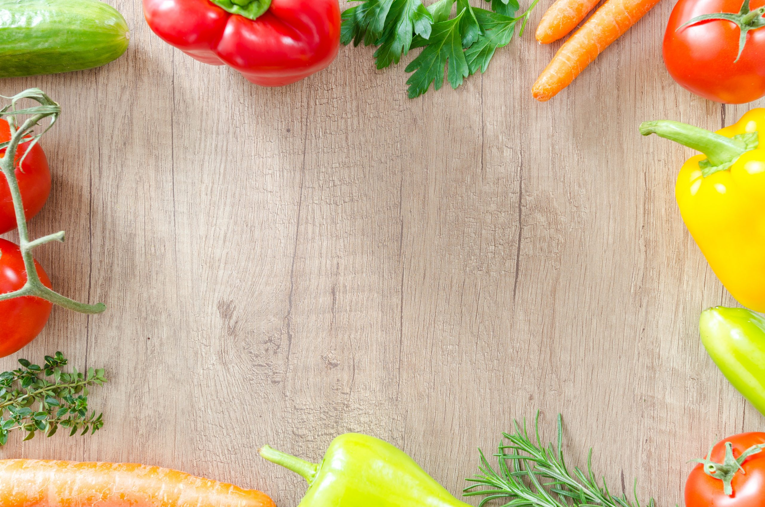 Background of table with fresh produce